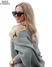 Wholesale-Grey Cardigan Autumn Women Sweater Fashion Jumper Brand Off the Shoulder  Batwing Sleeve Sweater Casual Knitted Crop Cardigan grey off shoulder ... 378a247ce