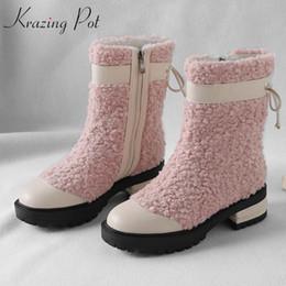 Canada Krazing pot fourrure de mouton en cuir véritable bout rond en peau de mouton garder au chaud princesse romance française med talon mixte couleur neige bottes L22 cheap french snow boots Offre