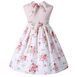 Wholesale Girls Dresses Lace Pink Rose - 2018 INS baby girl Kids Adults Summer clothes Pink Rose Floral Dress Jumper Jumpsuits Halter Neck Ruffle Lace Sexy Back Floral Tutu Dress