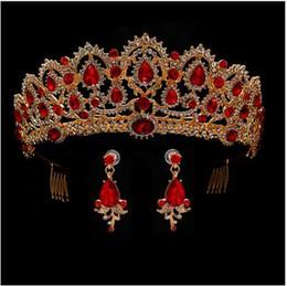 Canada Couronne de reine rouge Crystal Tiaras mariée couronne et boucles d'oreilles bandeau Baroque Accessoires de mariage diadème bijoux de cheveux ornement Offre