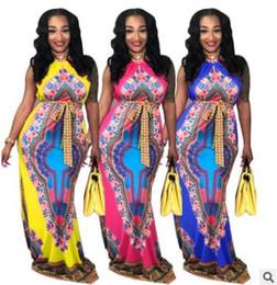 Wholesale Nightclub Decorations - 2018 summer women dress Halter sleeveless long dress Totem print nightclub Colorful belt decoration ladies clothing