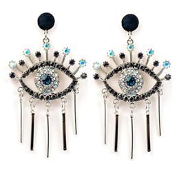 Brincos olhos azuis on-line-Moda exagerada designer de marca famosa Brincos Olho do olho da Liga Fringe com Diamond Blue Eye Stud Brincos