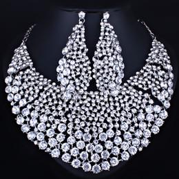 Canada Ensemble complet saleFARLENA bijoux strass clair grand collier et boucles d'oreilles pour les femmes indien bijoux de mariage de mariage définit cheap earrings for indian wedding Offre