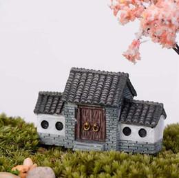 2019 vecchio paesaggio New Retro House Archway Micro Paesaggio Mini Old City Gate resina fai da te Decor Ornamenti Artigianato Fairy Garden Bonsai Decorazione della casa vecchio paesaggio economici