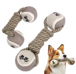 Jouets à corde de navires en Ligne-Livraison gratuite vente chaude haltère corde tennis animal mâcher jouet chiot chien nettoyer les dents outil de formation