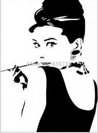 Wholesale Hepburn Wall Sticker - Free shipping Large Size Hot Removable Bedroom Wall Stickers Audrey Hepburn With Pipe Sketch Home Decor Sticker Modern Living Room Accessori
