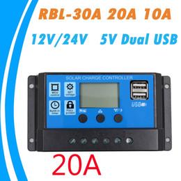 Canada Contrôleur de charge solaire PWM 30A / 20A / 10A 12V 24V Auto work avec écran LCD double sortie capteur USB 5V régulateur de charge de panneau de cellule solaire PV Page d'accueil Offre