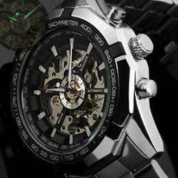 2016 Hombres Relojes de primeras marcas de lujo Ganador Reloj Esqueleto de Moda Hombres Reloj Deportivo Automático Relojes Mecánicos Relogio Masculino desde fabricantes