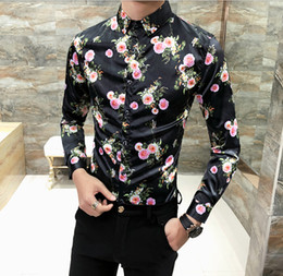 Wholesale Male Night - Spring Fashion Men Floral Printed Shirt Long Sleeve Rose Printing Slim Fit Male Top Shirts For Patry Night Club