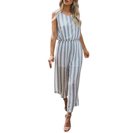9f4a8b2c29f5 Elegant Striped Sexy Sleeveless Rompers Womens Jumpsuit Backless Female  Wide legs Jumpsuits Casual beach summer Overalls 2018