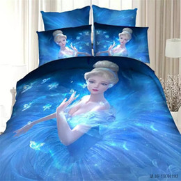 Wholesale twin pink princess bedding duvet - 100% Coon Kids Girls Bule 3D Princess Bedding set twin full Queen king size Bedclothes Duvet Cover Set Bed sheet Pillowcase