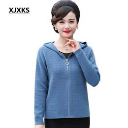 2019 jumpers de lã para mulheres XJXKS lã casuais blusas de malha moda 2018 mulheres com capuz casacos cardigan escavar plus size mulheres jumper jumpers de lã para mulheres barato