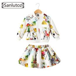 Sanlutoz Abbigliamento per bambini Ragazze Set Abbigliamento per bambini Brand Ragazze Abbigliamento Sport invernali Tute Toddler 2 PCS (Giacca + Gonna) Y18102408 da