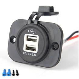Carregador de carro para tomada on-line-Carro Motocicleta Duplo USB Plug Carregador de LED Azul 12-24 V 1A 2.1A Tomada À Prova D 'Água com Saco de Opp