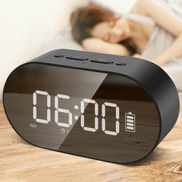 Зеркальное отображение bluetooth онлайн-P1 Bluetooth будильник динамик светодиодный дисплей цифровое зеркало с Aux TF карта USB флэш-диск FM домашний офис портативный динамик HIFI