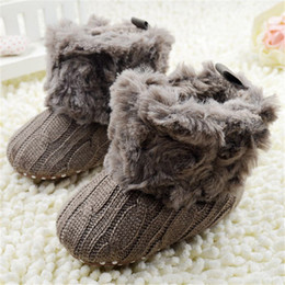Вязание крючком снег сапоги младенцы онлайн-Baby Infants Crochet Knit Fleece Boots Toddler Girl Boy Snow Booties