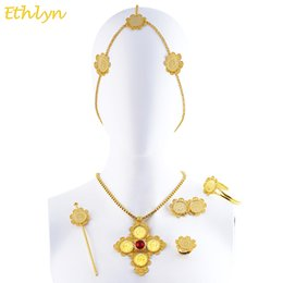 Wholesale Celtic Cross Stone - whole saleEthlyn Cross Coins Ethiopian Eritrean Hair Traditional Jewelry Accessories Gold Color Stone Wedding Sets S0101