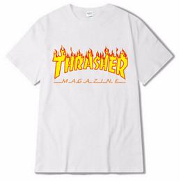 Wholesale wholesale long sleeve tshirts - Men Summer Tshirts SKATEBOARD Street Tees Letters Flame Design Tops Short Sleeved Clothing Tops