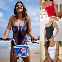 si adatta alle pastiglie Sconti 2019 Nuovo Costume da bagno Donna Costumi da bagno a righe Vita alta Monokini Imbottito Costume da bagno Tuta Costume da bagno Una spalla Abbigliamento da spiaggia