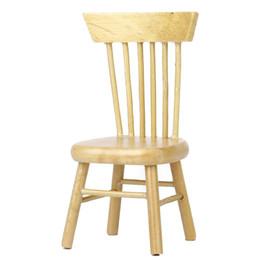 Wholesale 1 Maison de poupée miniature à manger chaise en bois couleur du bois