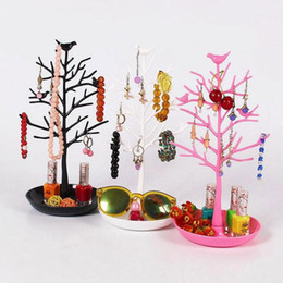 Wholesale Bird Jewelry Holder - Jewelry Bracelet Necklace Earring Ring Display Stand Organizer Holder Plastic Bird Tree Jewelry Display Rack Key Nail Stand 3