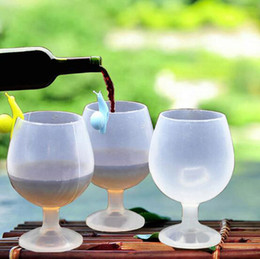 Wholesale Champagne Glasses Wholesale - 250ml Unbreakable Silicone Wine Glasses Outdoor Beer Champagne Whiskey Goblet Cocktail Water Cup bar Party drinkware