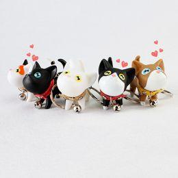 Niedliche kätzchenzubehör online-Multicolor Cute Cat Kitten Keychain Tierpuppen Schlüsselring kleine Katze Schlüsselbund Schönes Geschenk für Kinder Schmuck Zubehör