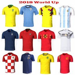 Wholesale T Shirt Polyester - 2018 World Cup Soccer Jerseys Home away Brazil Argentina Spain Uruguay Colombia Belgium Russia Mexico Sweden Messi Football jersey t shirt