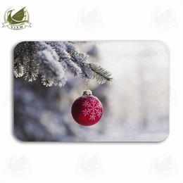 Paesaggio blu albero online-Vixm Christmas Tree e Star Against Snowy Landscape con abete Welcome Door Mat Tappeti Flanella Ingresso antiscivolo Cucina coperta Tappeto da bagno