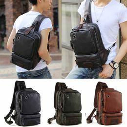 Wholesale black leather sling - Mens Leather Sling Backpack Shoulder Crossbody Cycle Unbalanced Bags Satchel