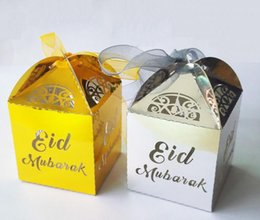 Wholesale Gift Wrapping Party - hot sale gold silver happy Eid Mubarak paper gift box ramadan decorations Islamic party happy Eid Mubarak decorations