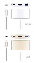 Wholesale Network Disk - USB 3.1 Type-C To HDMI Adapter 4K+USB 3.0+USB-C Converter Cable Digital USB Charging Cable for Network Card   Card Reader U Disk