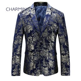 best quality suits for men Coupons - Blue suits for men High-quality jacquard fabric stamping pattern craftwork For singers best mens suits mens tailored jackets