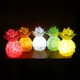 Wholesale Protection Lamp - Creative LED Light Vinyl Pineapple Shape Bedside Lamp Lovely Eye Protection Night Lights For Child Funny Toy 13jy B