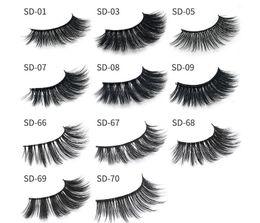Wholesale Synthetic Hair Strip Extensions - 11 styles Selling 1pair lot 100% Real Siberian 3D Mink Full Strip False Eyelash Long Individual Eyelashes Mink Lashes Extension