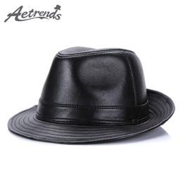 AETRENDS  2017 Nuevo Invierno 100% Cuero Jazz Cap Sombreros de Panamá para  Hombres Sombrero Fedora Sombrero de cuero genuino F-fregonas Z-5486 nuevos  ... cda2f51d5ec