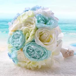 2018 New Sky Blue Beach Hochzeit Blumen Hochzeit Bouquets Brautjungfern Künstliche Seide Rose Brautstrauß Hochzeit Zubehör von Fabrikanten