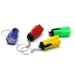 Wholesale plastic flower rings - Plastic Led Flsahlights Super Mini Tazer With Key Ring Portable For Outdoor Camping Hiking Torch Flower Petal Shape Designer 0 35ch ZZ