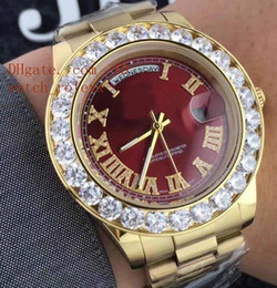 Wholesale Big Round Dial Digital Watches - Mens luxury Superlative 44MM Day-Date 18k Glod Automatic Men's Watch AAA Sapphire Big Diamond Bezel Red Dial Steel Bracelet Gents Watches