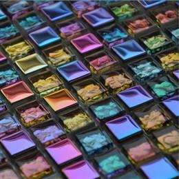Wholesale metal backsplash tile - Crystal Glass Mosaic Tile Bathroom Electroplating Colorful Iridescent Symphony for Bathroom Shower Tiles Kitchen Backsplash Wall