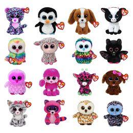 Ty Beanie Boos Muñeco de peluche de juguete Búho Pantera Pingüino Perro Jirafa Gato Mapache Ovejas Murciélago Ganado Felpa Animal con etiqueta 6