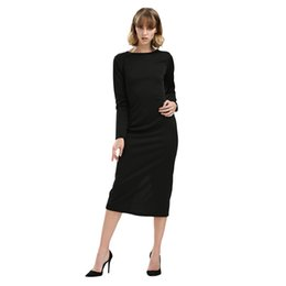 Wholesale Midi Dress Designs - 2018 Spring Office OL Dresses Simple Round Collar Long SLeeve Zipper Design Skinny Midi Dress for Women