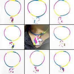 Wholesale home link - New Colorful PVC Unicorn Shapes Pendant Necklace Silicone Chain Jewelry Party Home Pretty Gift Free Shipping