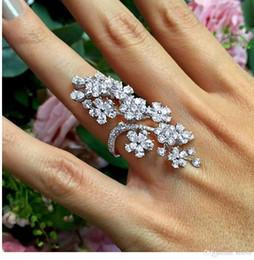 панк-рок полный палец кольца Скидка Новые готический панк-рок Роза горный хрусталь кулака кольцо полный палец кольцо подарок для женщин девушка