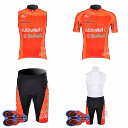 Wholesale team cycling vests - EUSKALTEL team Cycling Short Sleeves jersey bib shorts Sleeveless Vest sets cycling Jerseys breathable quick drying 9D gel pad D1911