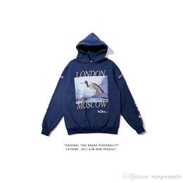 Wholesale Blue Hong Kong - Tide brand Hong Kong sweater plus velvet men casual loose hoodie retro crane print hoodies wild couple coat
