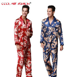04c1cec98c Men Silk Like Pajamas set Autumn Spring Pyjama suit Full Sleeved Chinese  Traditional Printed Rayon Sleepwear + Long Pants Set silk chinese pajamas  deals