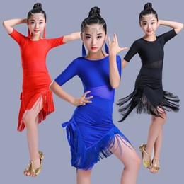 Trajes de salsa para crianças on-line-Tassel Menina Vestido de Dança Latina Para Meninas Salsa saia de tango Vestido de Dança de salão criança Concurso de Dança Crianças Dança Trajes