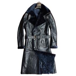 giacca di pelle di pecora spessa Sconti Cappotto di pelliccia vera pelle di pecora Genuini uomini in pelle inverno formale lungo spessore giacca di pelle di pecora shearling pelliccia Outwear 4XL 5XL