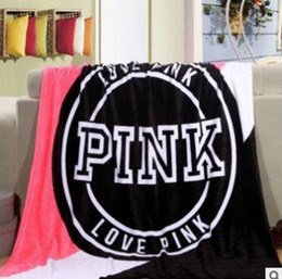 Wholesale Wholesale Pink Beach Towels - 130*150cm Pink Letter Blanket Soft Beach Towel Blankets Air Conditioning Rugs Comfortable Carpet fashion 4 color KKA3970